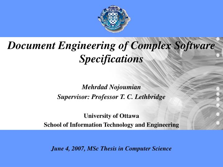 Document Engineering of Complex Software Specifications