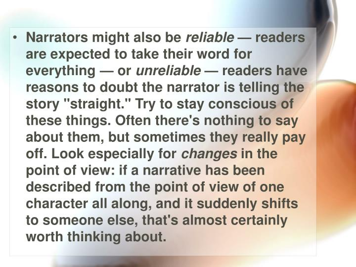 Narrators might also be