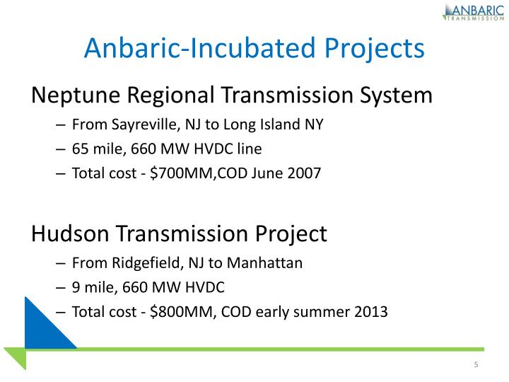 Anbaric-Incubated Projects