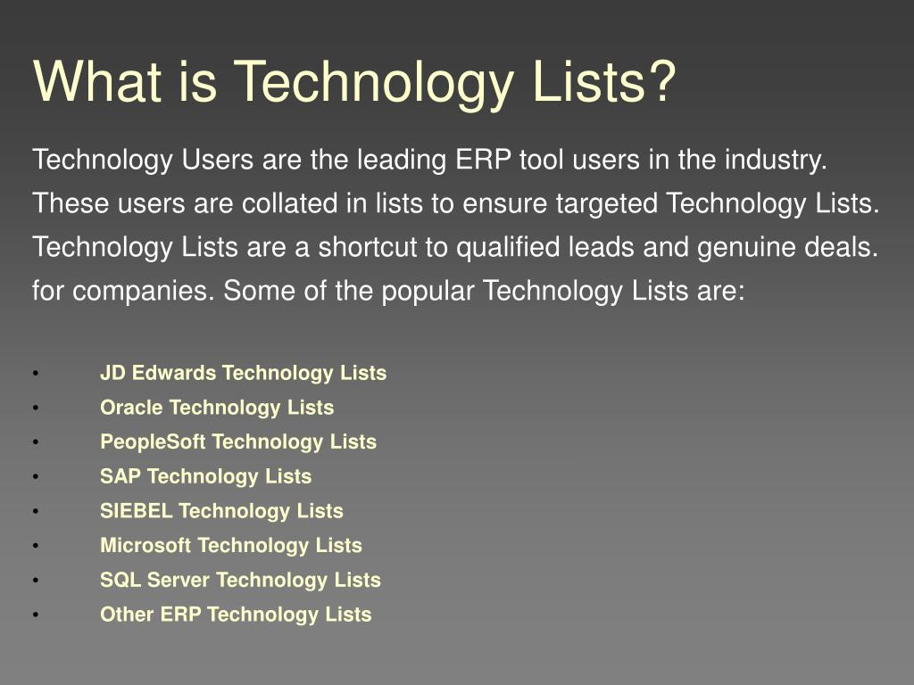 What is Technology Lists?