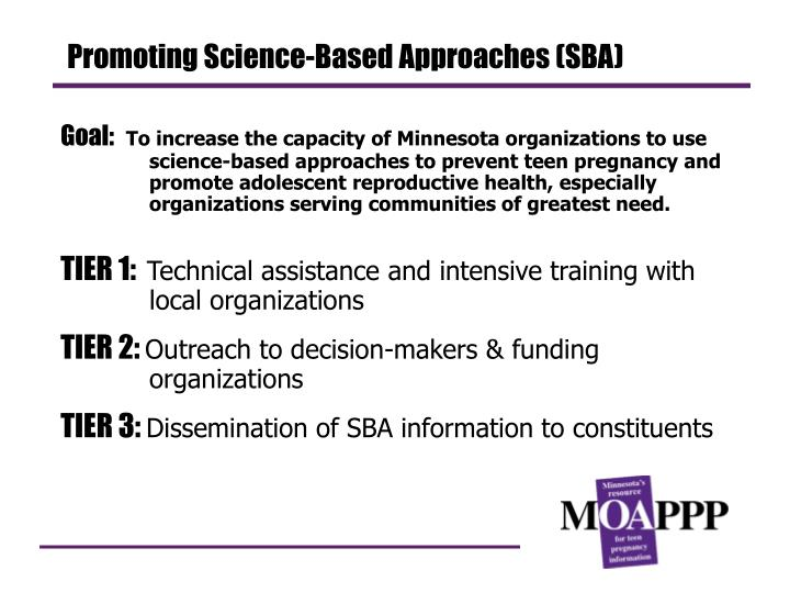 Promoting Science-Based Approaches (SBA)
