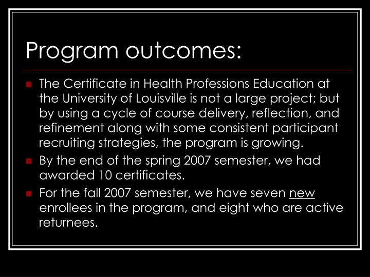 Program outcomes:
