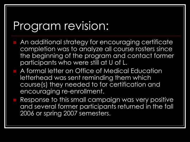 Program revision: