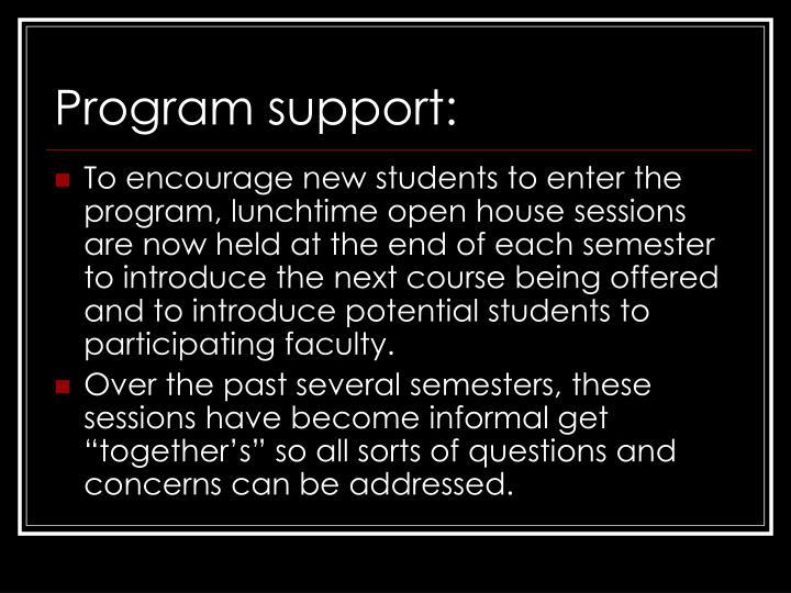 Program support: