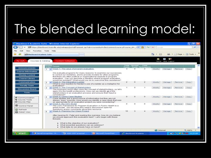 The blended learning model: