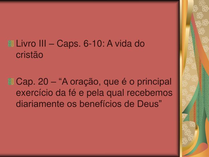 Livro III – Caps. 6-10: A vida do cristão