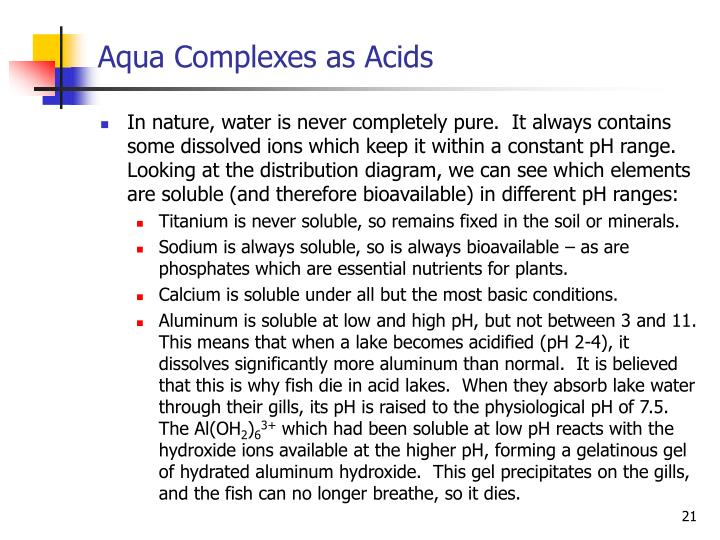 Aqua Complexes as Acids
