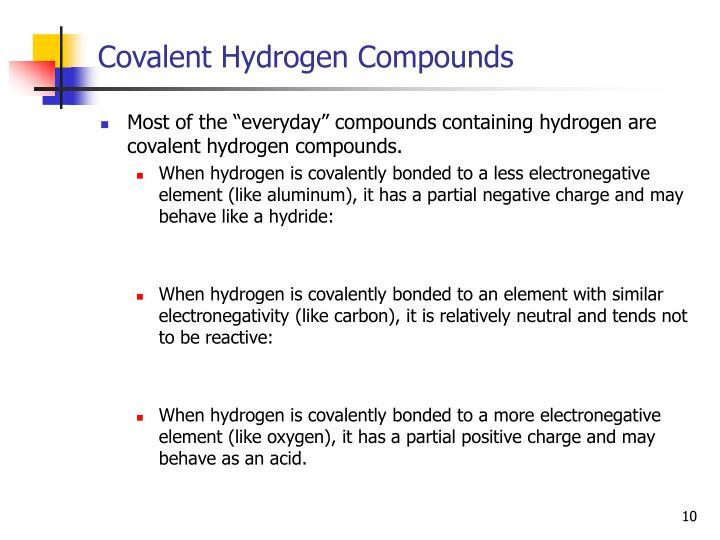 Covalent Hydrogen Compounds