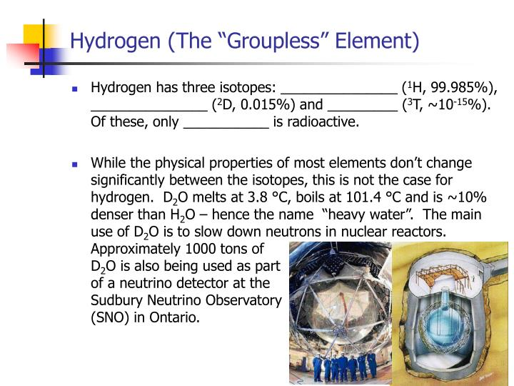 Hydrogen the groupless element