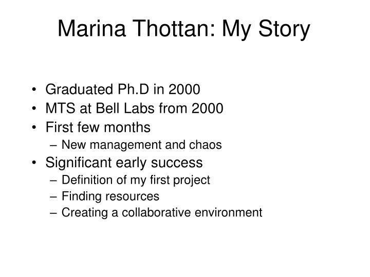 Marina Thottan: My Story