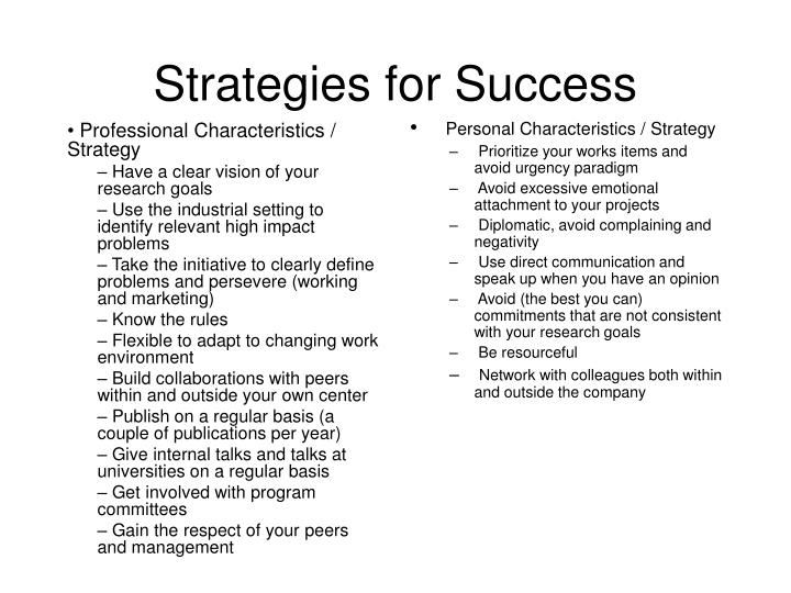 Professional Characteristics / Strategy