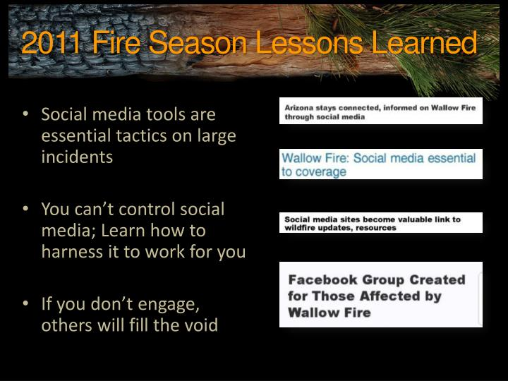 2011 Fire Season Lessons Learned