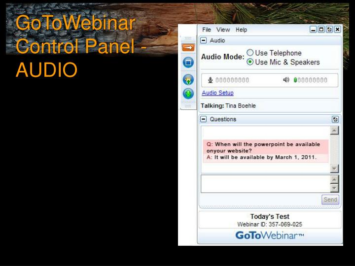 GoToWebinar Control Panel - AUDIO