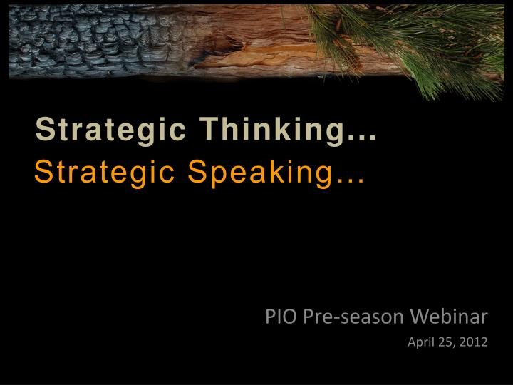 Pio pre season webinar april 25 2012
