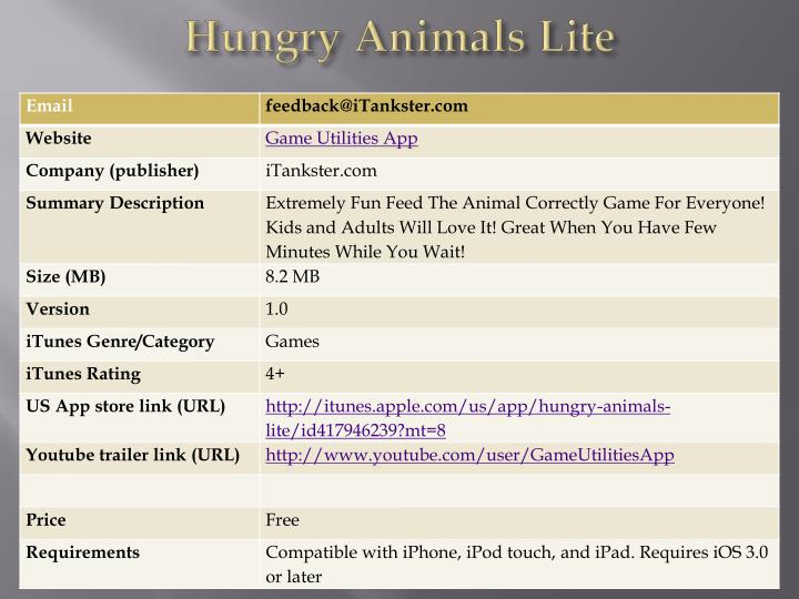 Hungry animals lite