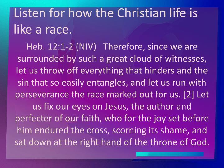 Listen for how the Christian life is like a race