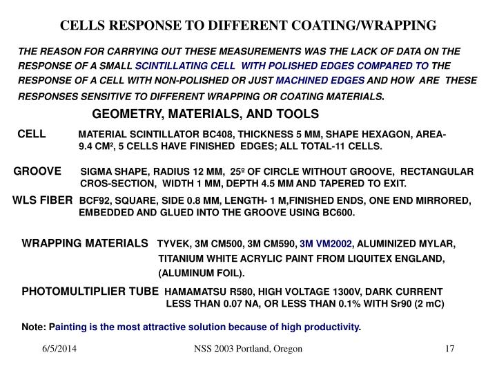 CELLS RESPONSE TO DIFFERENT COATING/WRAPPING