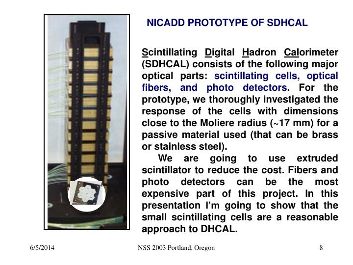 NICADD PROTOTYPE OF SDHCAL