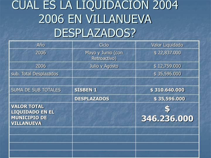 CUAL ES LA LIQUIDACION 2004 2006 EN VILLANUEVA DESPLAZADOS?