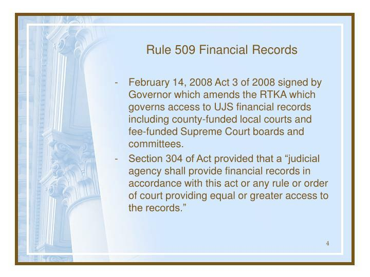 Rule 509 Financial Records