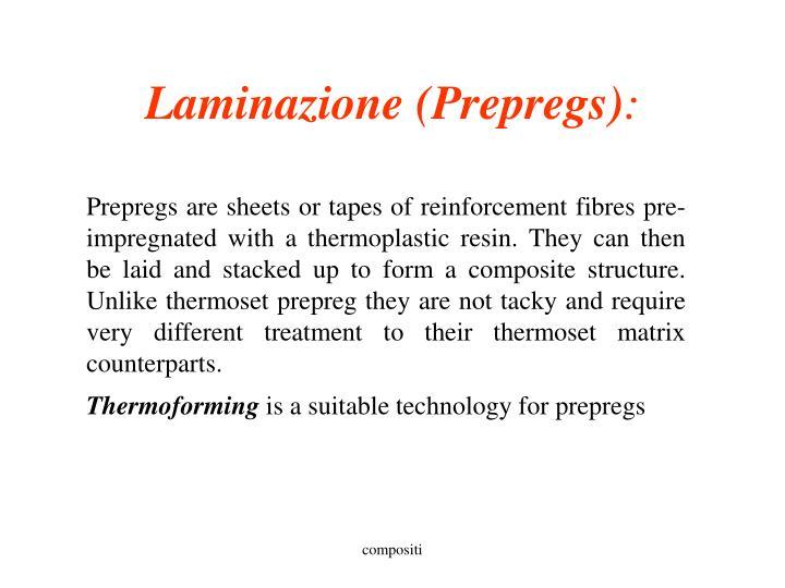 Laminazione (Prepregs)