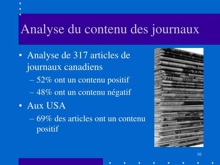 Analyse du contenu des journaux