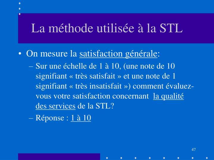 La méthode utilisée à la STL