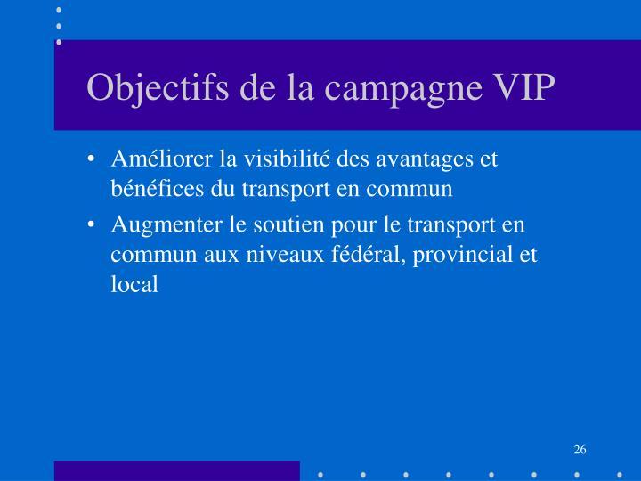 Objectifs de la campagne VIP