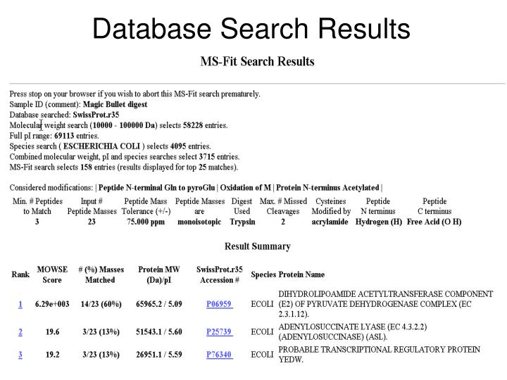 Database Search Results