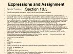expressions and assignment section 10 3