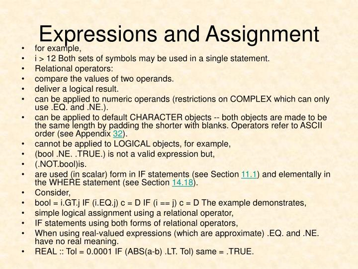 Expressions and Assignment