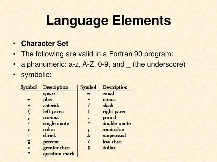 Language Elements