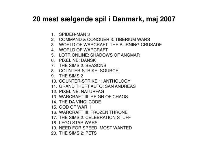 20 mest sælgende spil i Danmark, maj 2007