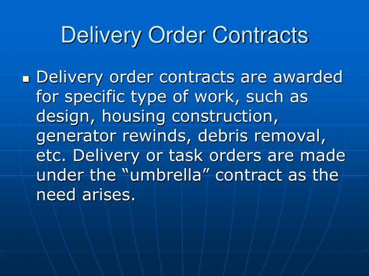 Delivery Order Contracts