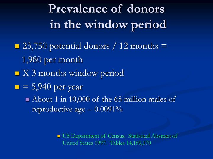 Prevalence of donors