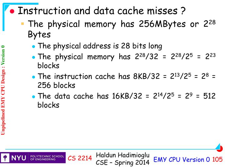 Instruction and data cache misses ?
