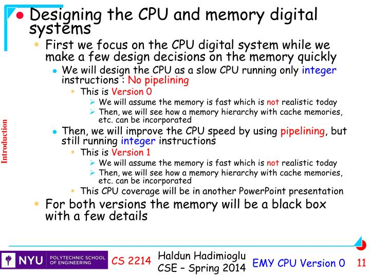 Designing the CPU and memory digital systems