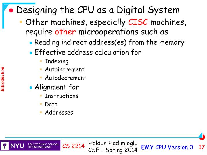 Designing the CPU as a Digital System