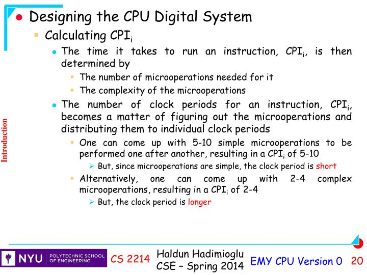 Designing the CPU Digital System
