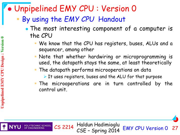 Unpipelined EMY CPU : Version 0