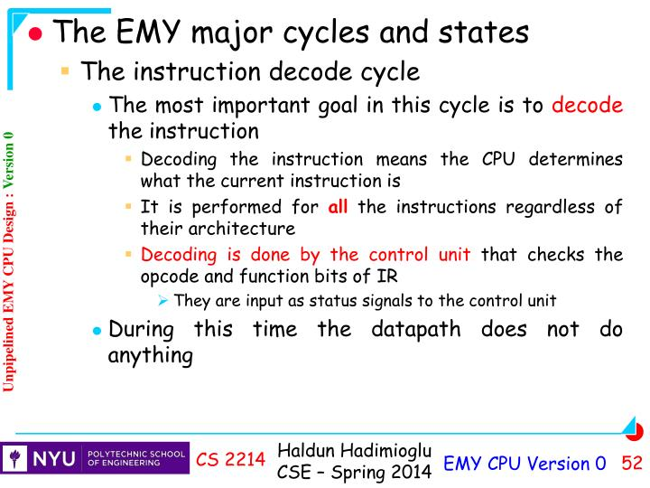 The EMY major cycles and states