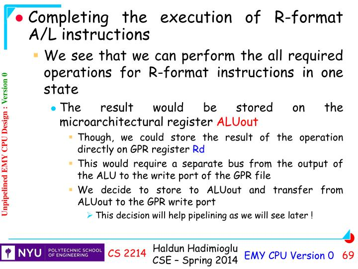 Completing the execution of R-format A/L instructions