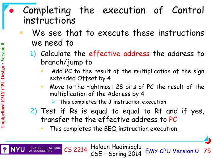 Completing the execution of Control instructions