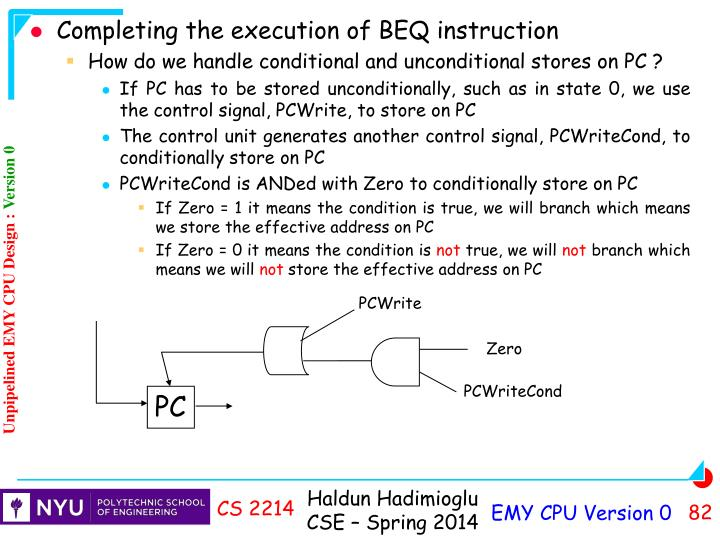 Completing the execution of BEQ instruction