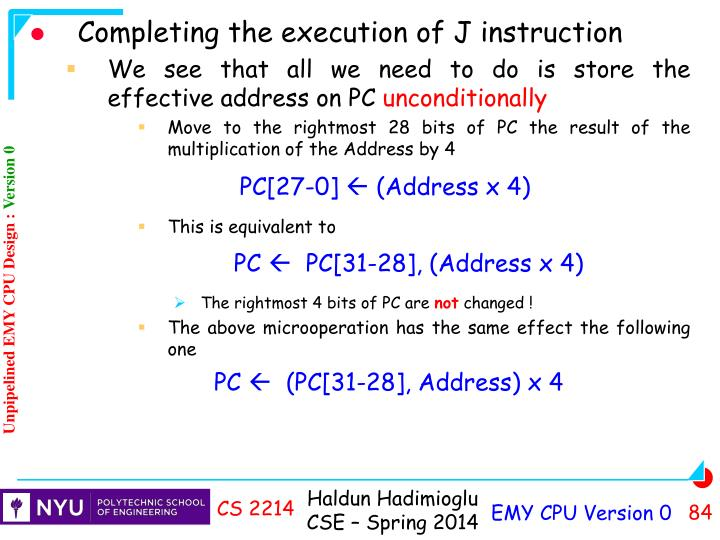 Completing the execution of J instruction