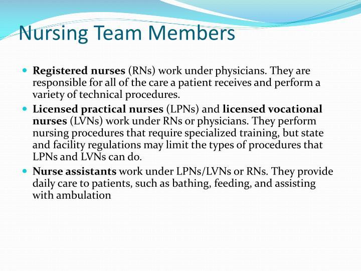 Nursing Team Members