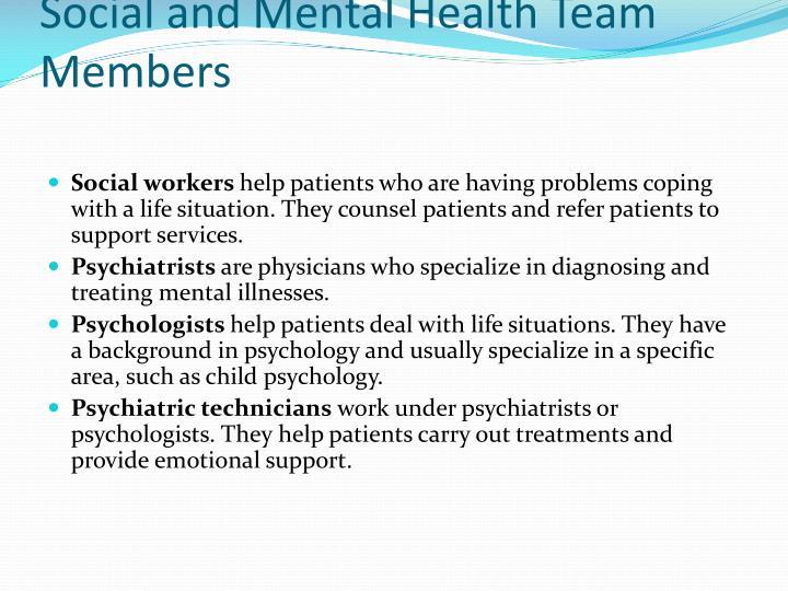 Social and Mental Health Team Members