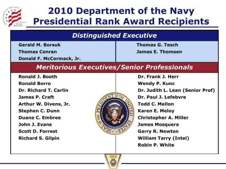 2010 Department of the Navy Presidential Rank Award Recipients