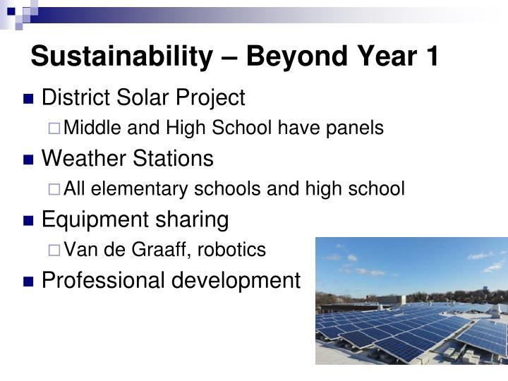Sustainability – Beyond Year 1