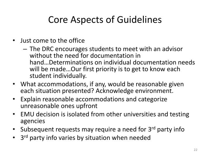 Core Aspects of Guidelines
